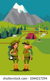 Quality flat vector scout kids characters standing in the mountains with tent camp on background. Mountain summer camp. Hiking activities in summer vacation for kids