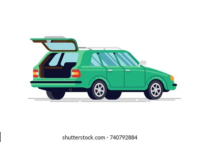 Quality flat vector station wagon car vehicle with open trunk, back view, isolated