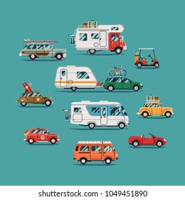 Quality flat vector transport design elements on summer car, van, trailer, camping caravan, surf ride, road trip and vacation travel