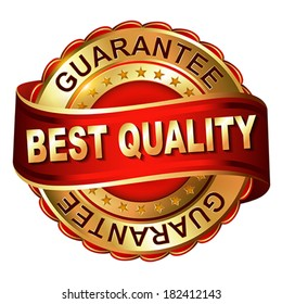 Quality guarantee golden label with ribbon.  Vector illustration.