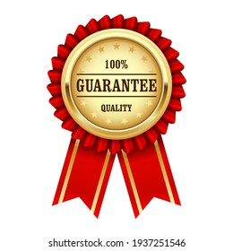 Quality guarantee sign, award rosette with gold medal and red ribbon, warranty icon, vector