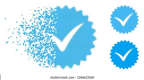 Quality icon in fragmented, pixelated halftone and entire versions. Fragments are composed into vector disappearing quality icon. Disappearing effect involves rectangle particles.