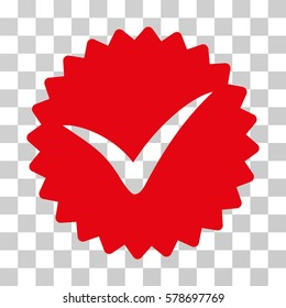 Quality icon. Vector illustration style is flat iconic symbol, intensive red color, transparent background. Designed for web and software interfaces.