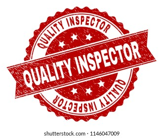 QUALITY INSPECTOR seal print with distress texture. Rubber seal imitation has round medal form and contains ribbon. Red vector rubber print of QUALITY INSPECTOR caption with dust texture.