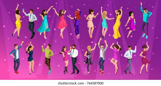Quality Isometrics, a 3D girl of a man at a party, a corporate party, dancing in a club, young beautiful people dancing.