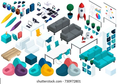 Quality Isometry, a set of colorful furniture for work and leisure of young entrepreneurs, a laptop, a tablet. Create your office for advertising and presentations.
