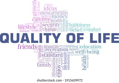 Quality of life vector illustration word cloud isolated on a white background.