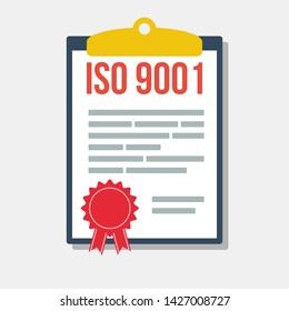quality management system certificate in clipboard, flat vector illustration