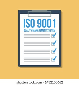 quality management system checklist in clipboard, flat vector illustration