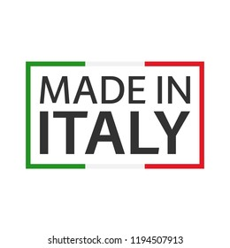 Quality mark Made in Italy, colored vector symbol with Italian tricolor isolated on white background