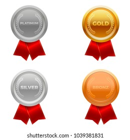 Quality medals, platinum, gold, silver and bronze