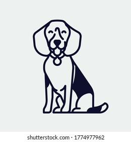 Quality monoweight stroke vector illustration on beagle hound dog. Happy puppy flat style linear design element