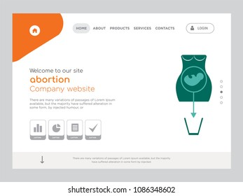 Quality One Page abortion Website Template Vector Eps, Modern Web Design with flat UI elements and landscape illustration, ideal for landing page