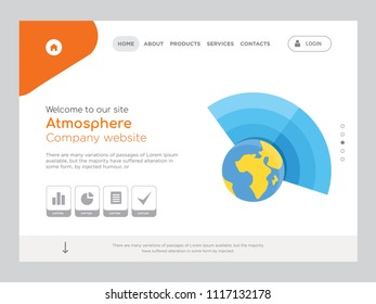 Quality One Page Atmosphere Website Template Vector Eps, Modern Web Design with landscape illustration, ideal for landing page, Atmosphere icon