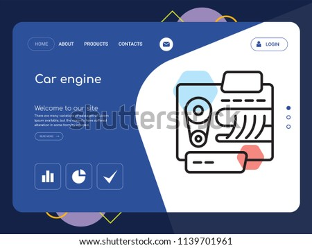 Quality One Page Car Engine Website Stock Vector Royalty Free