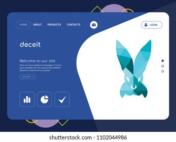Quality One Page deceit Website Template Vector Eps, Modern Web Design with flat UI elements and landscape illustration, ideal for landing page