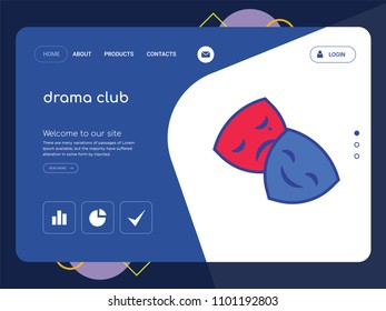 Quality One Page drama club Website Template Vector Eps, Modern Web Design with flat UI elements and landscape illustration, ideal for landing page