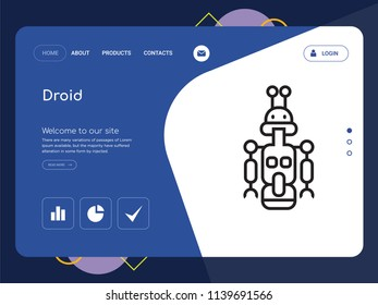 Quality One Page Droid Website Template Vector Eps, Modern Web Design with landscape illustration, ideal for landing page, Droid icon