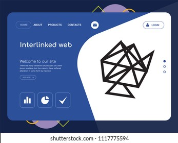 Quality One Page Interlinked web Website Template Vector Eps, Modern Web Design with landscape illustration, ideal for landing page, Interlinked web icon