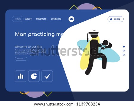 Quality One Page Man Practicing Martial Arts Website Template Vector Eps Modern Web Design With