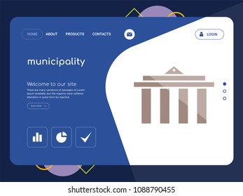 Quality One Page municipality Website Template Vector Eps, Modern Web Design with flat UI elements and landscape illustration, ideal for landing page