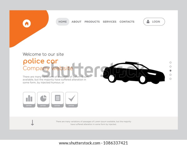 Police Car Website >> Quality One Page Police Car Website Stock Vector Royalty Free