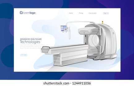 Quality One Page Professional medical MRI scanner machine concept. Medical diagnostic. Website Template Vector Eps, Modern Web Design with flat UI elements and landscape illustration
