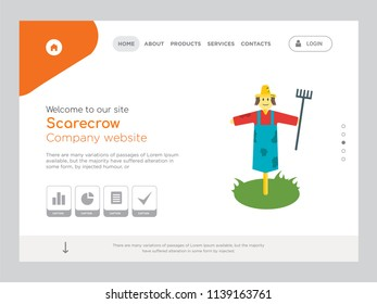Quality One Page Scarecrow Website Template Vector Eps, Modern Web Design with landscape illustration, ideal for landing page, Scarecrow icon