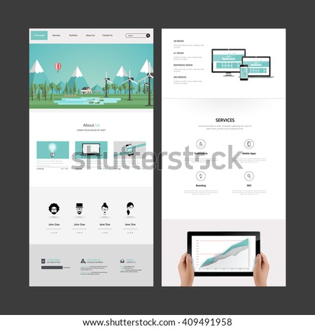 Quality One Page Website Template Vector Stock Vector Royalty Free