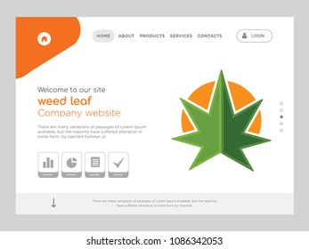 Quality One Page weed leaf Website Template Vector Eps, Modern Web Design with flat UI elements and landscape illustration, ideal for landing page