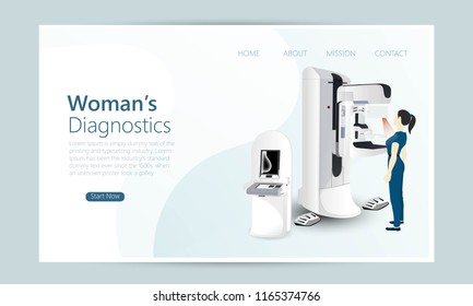 Quality One Page Woman's Diagnostics concept. Doctor examines patient on mammography machine. Website Template Vector Eps, Modern Web Design with flat UI elements and landscape illustration