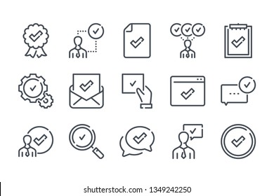 Quality related line icon set. Сompliance with requirements linear icon collection. Approve and check vector icons.