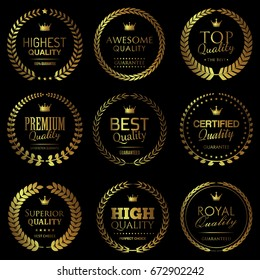 Quality themed golden badges