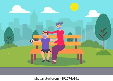 Quality time vector concept: Little grandson and grandmother taking selfie photo with smart phone in the park