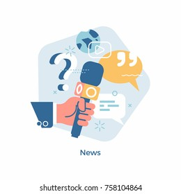 Quality vector concept visual on global news, journalism, live press report or interview with hand holding microphone and abstract media icons and symbols. Press conference minimalistic illustration