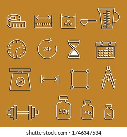 Quantities vector icons. Set of measure included icons line. Set of physical icons for measuring different quantities. Physical school table