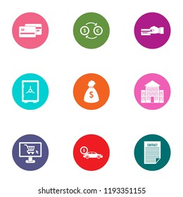 Quantity of money icons set. Flat set of 9 quantity of money vector icons for web isolated on white background