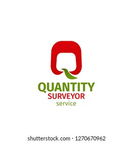 Quantity surveyor service vector icon isolated on a white background. Vector badge for architect agency or engineering business company. Concept of measuring or quantity surveyor