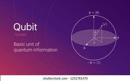 Quantum bit visual concept. Visialization of qubit on colorful gradient background. Vector illustration