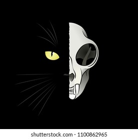 Quantum Cat - Dead-And-Alive. Feline head divided to 'alive' and 'dead' halves. Illustration on the subject of a paradox in Quantum Physique.