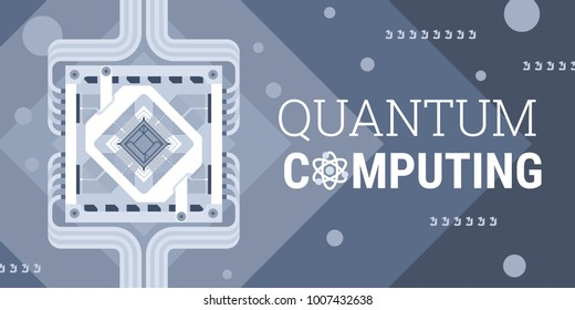 Quantum computer chip detailed vector illustration for websites