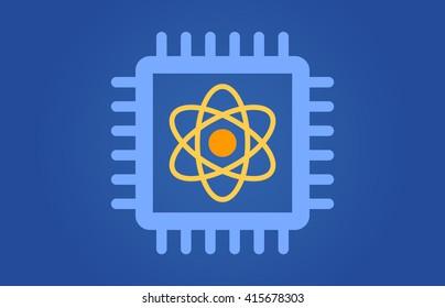 Quantum computer chip flat vector illustration for websites