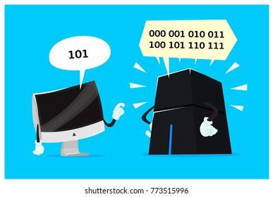 Quantum Computer. Classic Bit Versus Quant Qubit. Cartoon Style vector Illustration