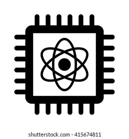 Quantum computer semiconductor chip flat vector icon for technology apps and websites