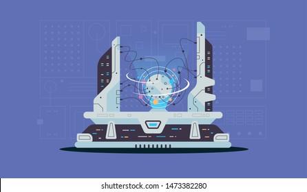 Quantum computer. software development and programming. vector illustration for websites