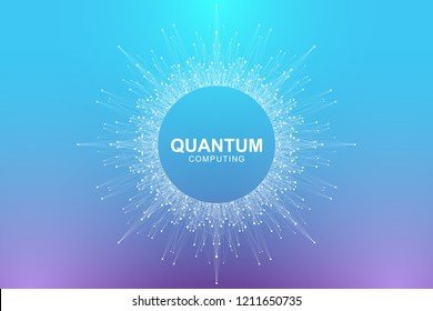 Quantum computer technology concept. Deep learning artificial intelligence. Big data algorithms visualization for business, science, technology. Waves flow, dots, lines. Quantum vector illustration.