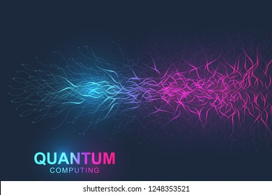 Quantum computer technology concept. Deep learning artificial intelligence. Big data algorithms visualization for business, science, technology. Waves flow. Vector illustration