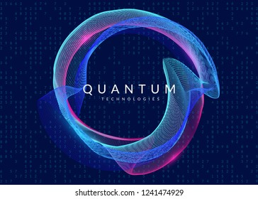 Quantum computing background. Technology for big data, visualization, artificial intelligence and deep learning. Design template for science concept. Fractal quantum computing backdrop.