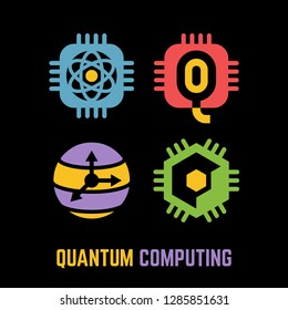 Quantum computing color glyph silhouette icon set on a black background with future intelligence computer qubits processor chip and sphere symbol.