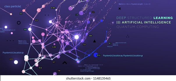 Quantum computing, deep learning artificial intelligence, signal cryptography infographic vector illustrations. Big data algorithms visualization for business, science presentations, posters, covers